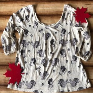 Anthropologie Postmark squirrel top. EUC